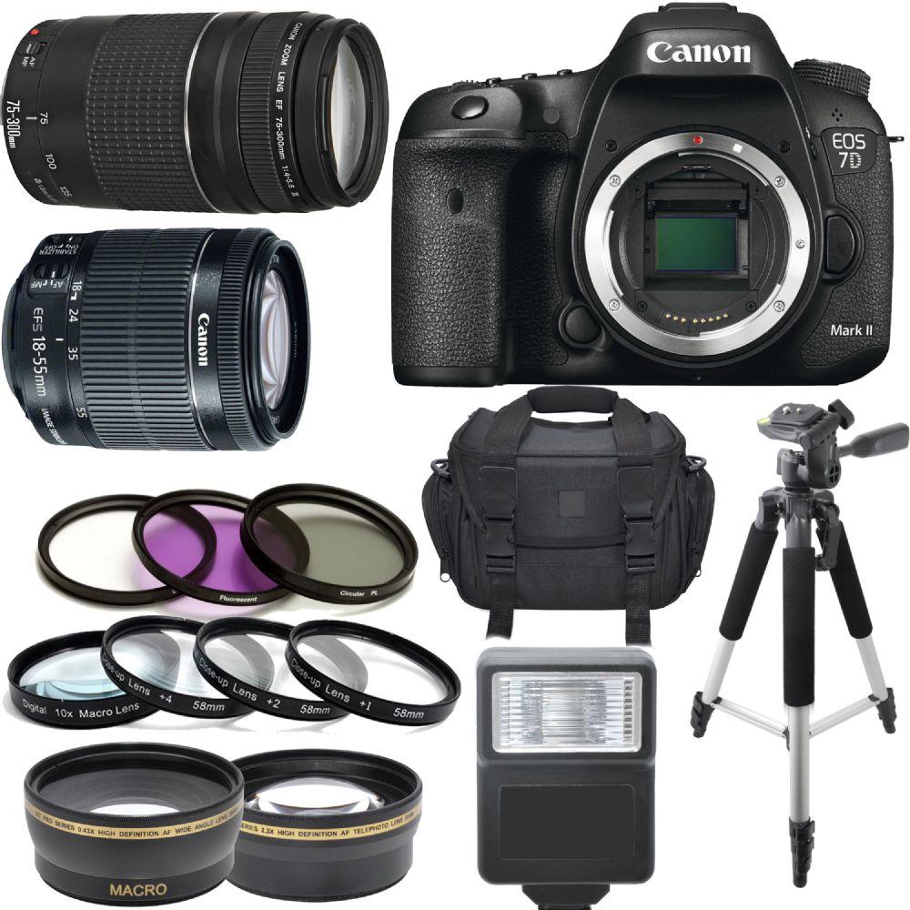 Canon EOS 7D Mark II Body W/ 18-55mm IS STM 75-300mm III 64GB Kit