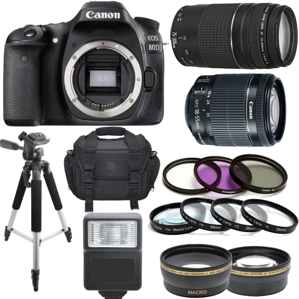 Canon EOS 80D DSLR Body W/ 18-55mm IS STM 75-300mm III 64GB