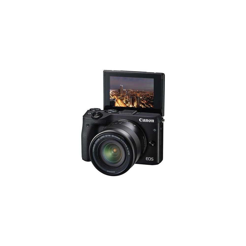 canon eos m3 mirrorless with ef m 18 55mm is stm lens black. Black Bedroom Furniture Sets. Home Design Ideas