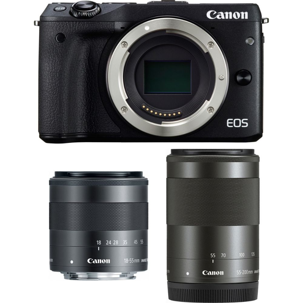 canon eos m3 mirrorless with ef m 18 55mm and 55 200mm. Black Bedroom Furniture Sets. Home Design Ideas