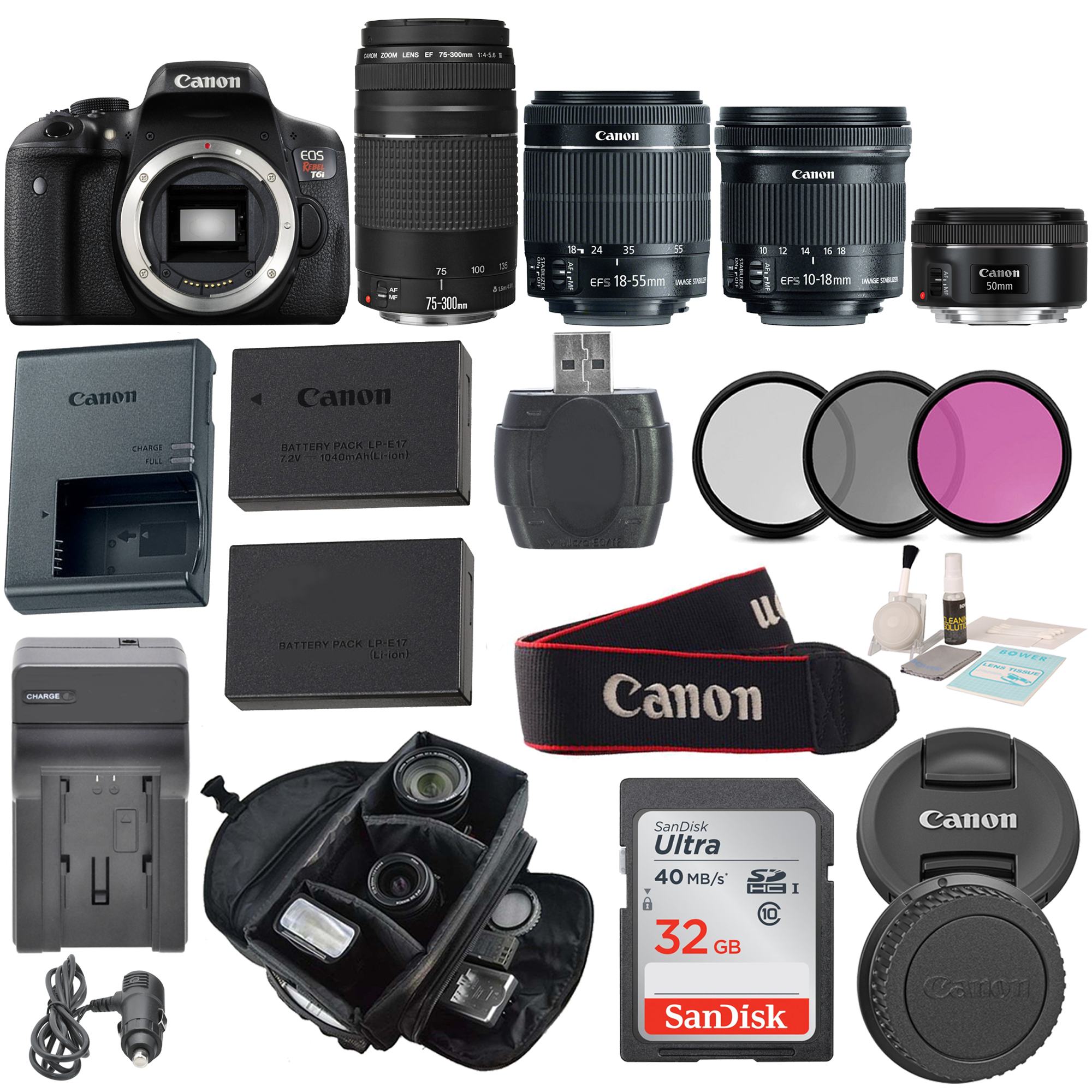 Canon Eos Rebel T6i Body Dslr With Ef S 18 55mm F 3 5 5 6 Bundle