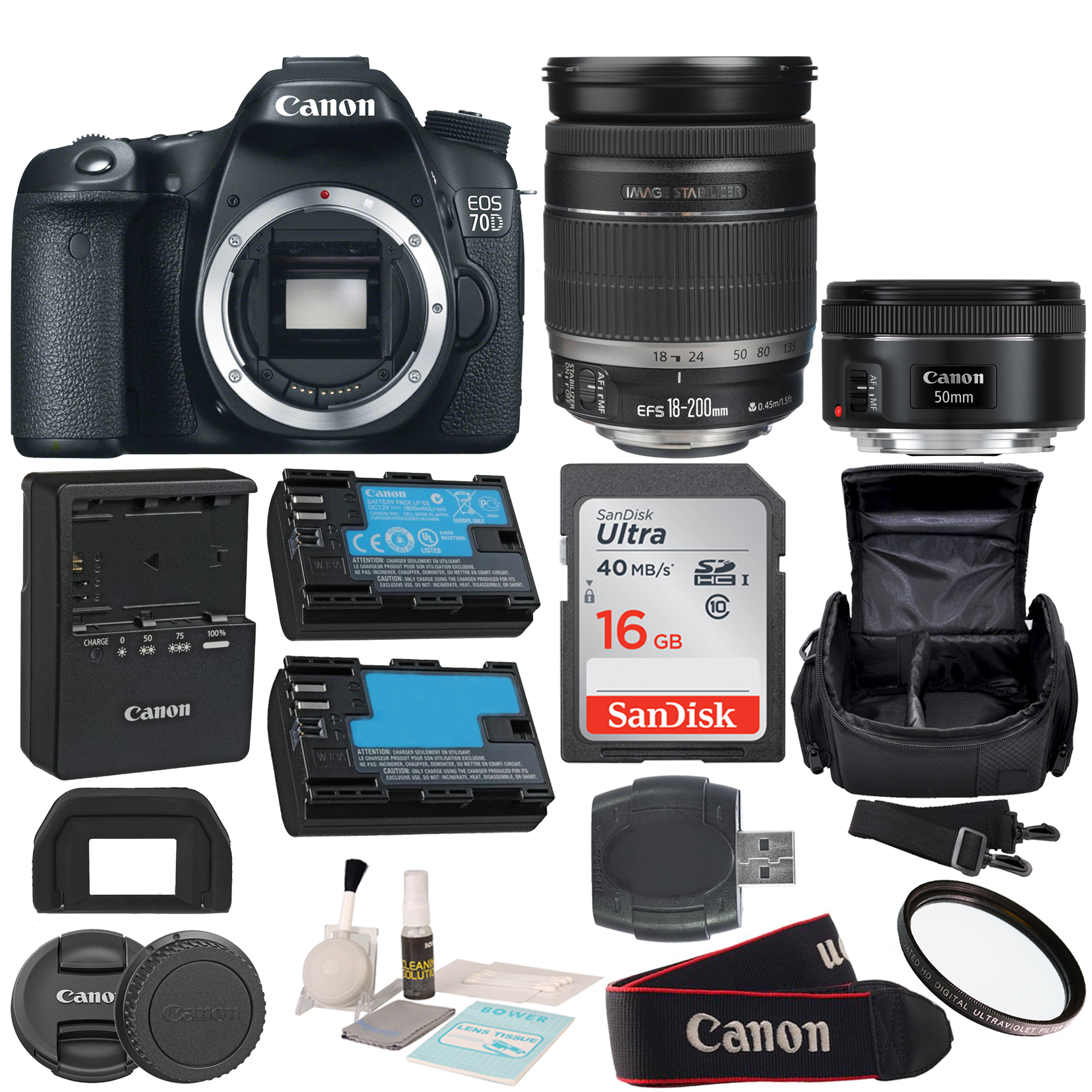 Canon EOS Rebel 70D DSLR Camera with EFS 18200mm f3556 IS Bundle