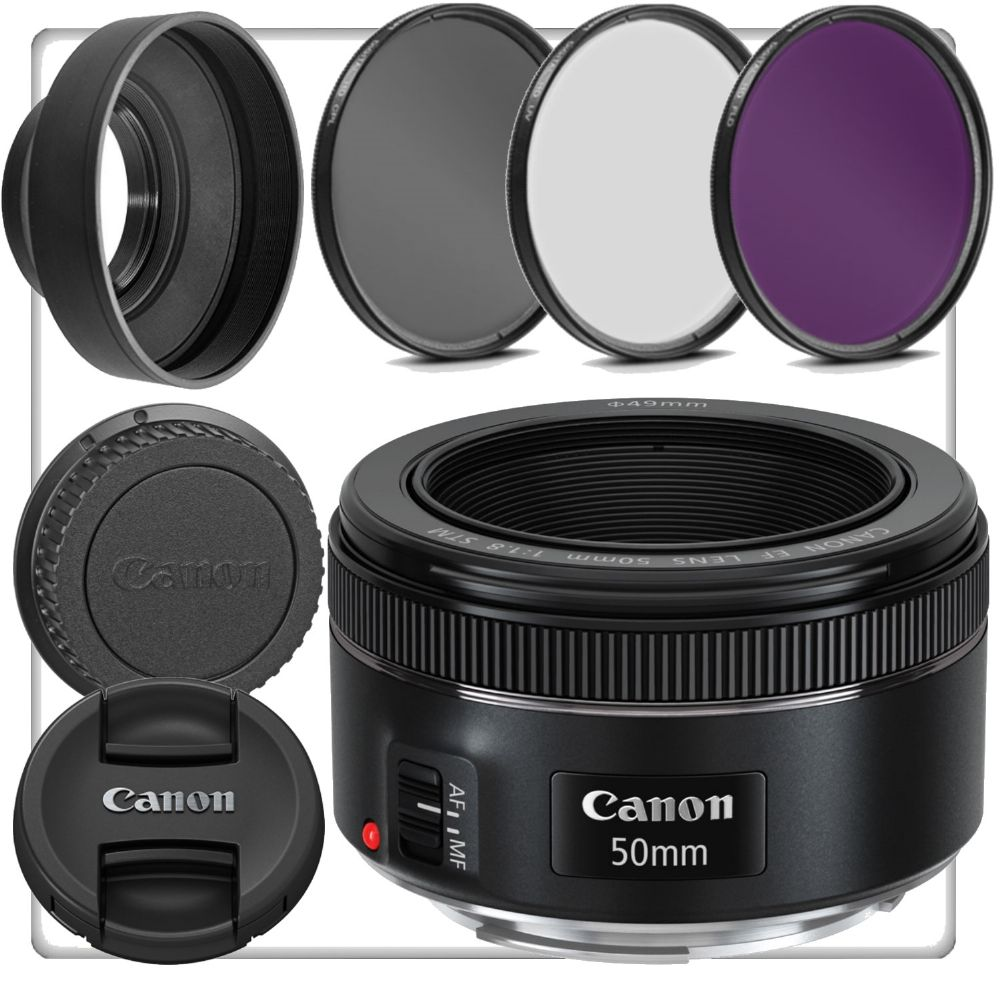 Canon 0570C002 EF 50mm f/1.8 STM Full Frame Camera Lens + Supply