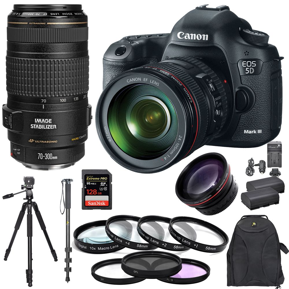 canon eos 5d mark iii with 24 105mm lens 70 300mm 128gb tripod cneos5diiikit1