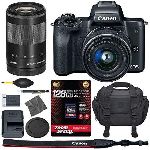 Canon EOS M50: 4K Mirrorless Digital Camera with 15-45mm & 55-200mm STM  Lenses (Black) (2680C011) + 128GB AOM Pro Kit: International Version (1  Year