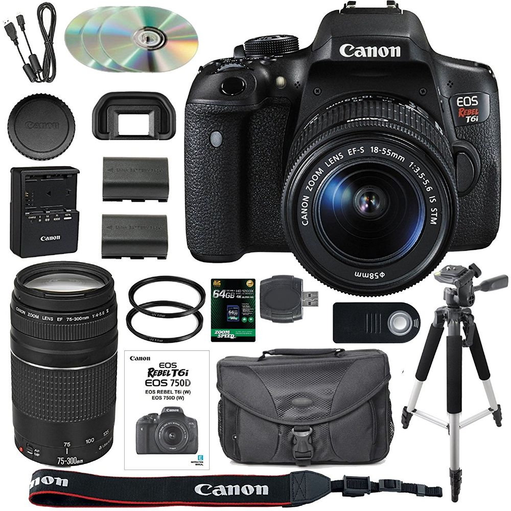 Canon Eos Rebel T6i 750d Dslr Camera Bundle With Canon Ef S Kit