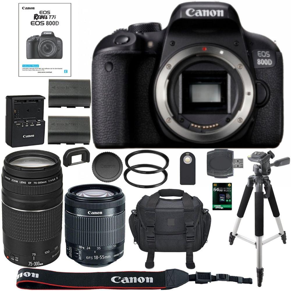 Canon Eos Rebel T7i Dslr Camera 64gb Sdxc Memory Card Bundle