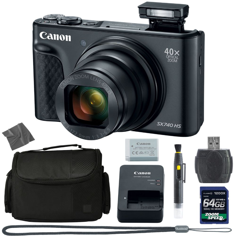 Canon Powershot Sx740 Hs Digital Camera Black 2955c001 64gb 4k Aom Pro Kit 2955c001