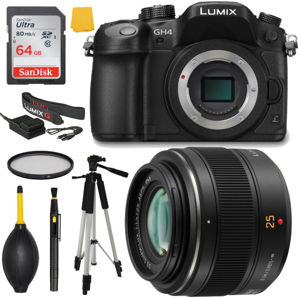 Panasonic Lumix Dmc Gh4 4k Mirrorless Bundle Deluxe Leica Dg Summilux 25mm F 14 Asph Micro 4 3 Lens