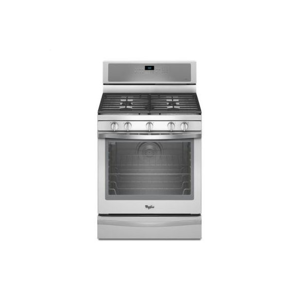 White Ice Whirlpool R 5 8 Cu Ft Freestanding Gas Range With Aqualift Self Cleaning Technology