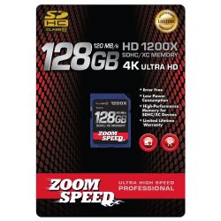 ZoomSpeed 128GB Ultra 4K High Speed Premium SDHC/XC Memory Card 120MB/S- Class 10