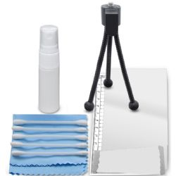 6 Piece Starter Kit - Includes, Cleaning Kit, LCD Screen Covers, Table Top Tripod