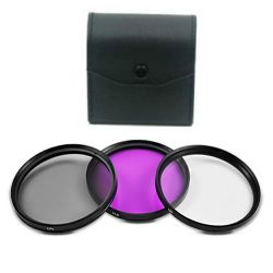 3 Piece 52MM Digital Filter Kit - UV, CPL, FLD with Case