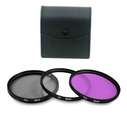 3 Piece 58MM Digital Filter Kit - UV, CPL, FLD with Case