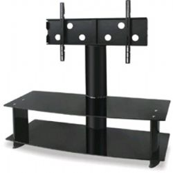 AVS105BK Wide 2 shelve Plasma TV stand for up to 52 Inch - Black Smoked Glass