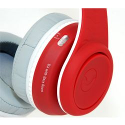 FW-2003-RED-WHI Over Ear DJ Headphone With Remote - Red & White