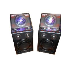 "Dual 10"" powered speaker set with strobe"