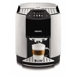 EA9000 Barista Full Automatic One Touch Cappuccino Machine with Automatic Rinsing and KRUPS Two-Step Frothing Technology, Metallic