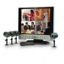 SG17LD804161 17-in LCD Observation System with Built-in 8 Channel Digital Video Recorder and 4 Night Vision CCD Cameras
