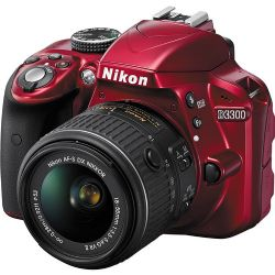 D3300 DSLR Camera with 18-55mm Lens (Red)