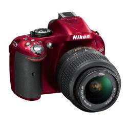 D5200 24.1 Megapixel DX-Format Digital SLR Camera with 18-55mm f/3.5-5.6G AF-S DX (VR) Lens - Red