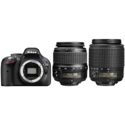 D5200 24.1 MP Digital SLR Camera - Black - AF-S DX 18-55mm and 55-200mm lenses