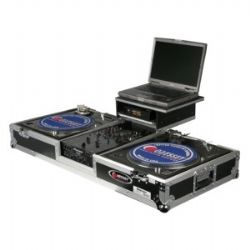 Flight Zone Glide Style DJ Battle Mode Turntable Coffin w/Wheels - Fits most 10-inch mixers and 2 1200 style turntables