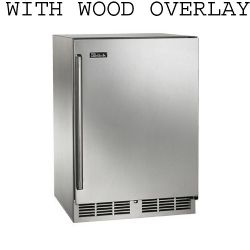 "24"" Stainless beverage center with integrated wood overlay solid door hinge right"