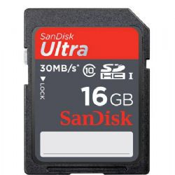 16GB Class 10, Ultra SDHC UHS-I Memory Card, 30 MB/s Read Speed