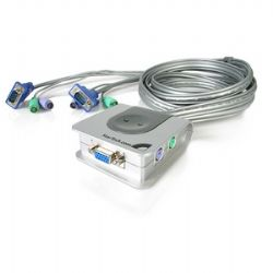 StarTech.com 2 Port Micro PS/2 VGA Cable KVM Switch - 2 x 1 - 2 x mini-DIN (PS/2) Keyboard, 2 x mini-DIN (PS/2) Mouse, 2 x HD-15 Monitor