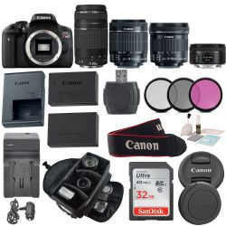 Canon EOS Rebel T6I Body DSLR with EF-S 18-55mm f/3.5-5.6  Bundle