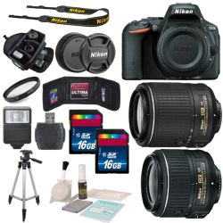Nikon D5500 DX-18-55mm f/3.5-5.6G VR II With 55-200mm Lens Bundle