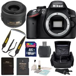 Nikon D3200 Digital SLR Camera with Nikon AF-S DX NIKKOR 35mm f/1.8G Lens SSD Essentials Bundle