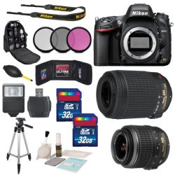Nikon D610 Digital SLR Camera Body + Nikon AF-S DX NIKKOR 18-55mm f/3.5-5.6G VR Lens & Nikon AF-S DX VR ZOOM NIKKOR 55-200mm f/4-5.6G IF-ED Lens Accessory 64GB Bundle