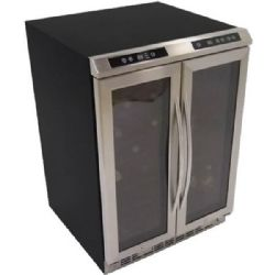 "Avanti 24"" Undercounter Side by Side Dual Zone Wine/Beverage Cooler with 19 Wine Bottles Capacity Stainless Steel"