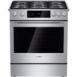 "Bosch 30"" Slide-in Dual-Fuel Range with 5 Sealed Burners Stainless Steel"