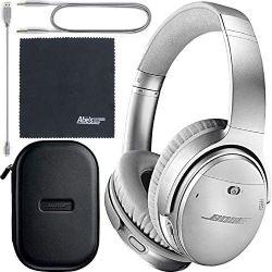 Bose QuietComfort 35 Series II Wireless Noise-Canceling Headphones - Silver (789564-0020) + AOM Bundle - International Version (1 Year AOM Warranty)