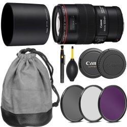 Canon EF 100mm f/2.8L Macro IS USM Lens + Accessories