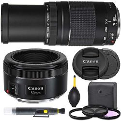 Canon EF 50mm f1.8 STM (0570C002) + Canon EF 75-300mm III (6473A003) Combo Lens Bundle + AOM Starter Kit - International Version (1 Year AOM Warranty)