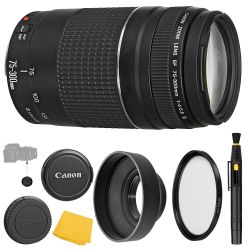 Canon EF 75-300mm f/4-5.6 III Lens + UV Filter + Collapsible Rubber Lens Hood + Lens Cleaning Pen + Lens Cap Keeper + Cleaning Cloth - 75-300mm III: DC Micromotor Lens - International Version