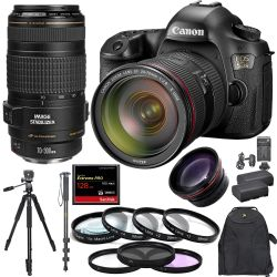 Canon EOS 5DS W/ 24-70mm f/2.8+ 70-300mm + 128GB CF + Pro Combo - USA