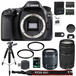 AOM Canon EOS 80D Digital SLR Camera + 18-55mm STM + 75-300mm III Lens