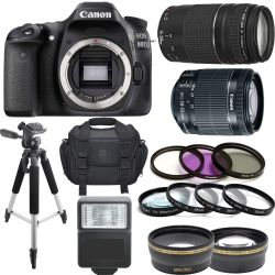 Canon EOS 80D DSLR Body W/ 18-55mm IS STM 75-300mm III 64GB