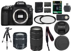 Canon EOS 90D Digital SLR Camera + 18-55mm STM + Canon 75-300mm III Lens + SD Card Reader + 64gb SDXC + Remote + Spare Battery + Accessory Bundle