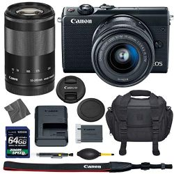 Canon EOS M100: Mirrorless Digital Camera with 15-45mm & 55-200mm STM Lenses (Black) (2209C011) + 64GB AOM Pro Kit: International Version (1 Year AOM Warranty)