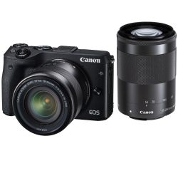 Canon EOS M3 Mirrorless with EF-M 18-55mm and 55-200mm Lenses Black
