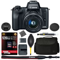 Canon EOS M50: Mirrorless Digital Camera (Black) w/ 15-45mm Lens (Graphite) 2680C011 + 128GB 4K AOM Pro Kit: International Version (1 Year AOM Warranty)