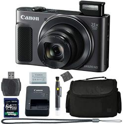 Canon PowerShot SX620 HS Digital Camera (Black) (1072C001) + 64GB 4K AOM Pro Kit: International Version (1 Year AOM Warranty)