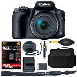Canon PowerShot SX70 HS Digital Camera (3071C001) + 128GB 4K AOM Pro Kit: International Version (1 Year AOM Warranty)