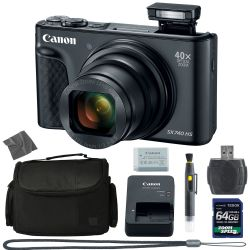 Canon PowerShot SX740 HS Digital Camera (Black) (2955C001) + 64GB 4K AOM Pro Kit